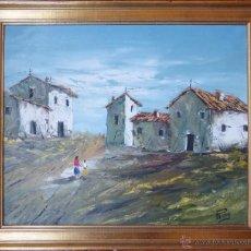 Arte: PAISAJE CON FIGURAS. OLEO SOBRE TELA. FIRMADO REIG. Lote 44322575