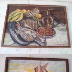 Arte: CUADRO ÓLEO TABLA PINTADO POR LAS DOS CARAS CON MARINA Y BODEGÓN FIRMADO BLAS CORDERO. Lote 44354441
