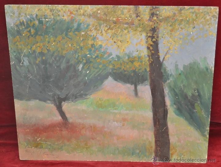 JAIME CASAS. OLEO SOBRE TABLEX. REPRESENTANDO UN PAISAJE (Arte - Pintura - Pintura al Óleo Contemporánea )