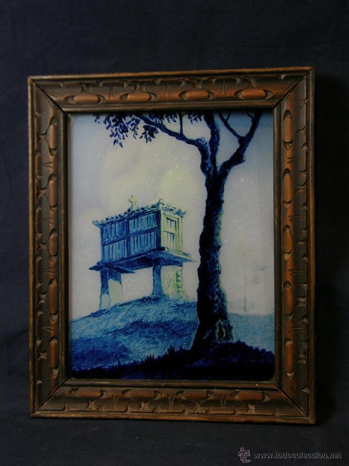 pintura sobre vidrio en azul hórreo gallego gal - Comprar Pintura al ...