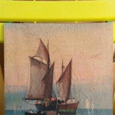 Arte: MARINA AL OLEO CON 100 AÑOS APROXIMADOS,SOBRE TELA PEGADA A TABLEX DE 29 X 28,5 CMS.ANONIMO. Lote 44664616