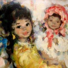 Arte: PRECIOSA Y GRAN PINTURA ORIGINAL VINTAGE TEMA MATERNIDAD, FIRMADA KOROS.. Lote 44665411