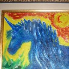 Arte: ORIGINAL OLEO SOBRE LIENZO, EL UNICORNIO AZUL, AUTOR ENRIQUE ROMERO. Lote 44737693