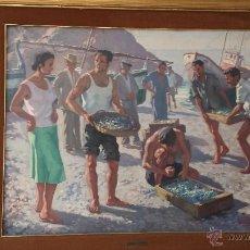 Arte: ALFONSO DE LA TORRE. DESCARGANDO EL PESCADO. PLAYA DE MALAGA. Lote 44744277
