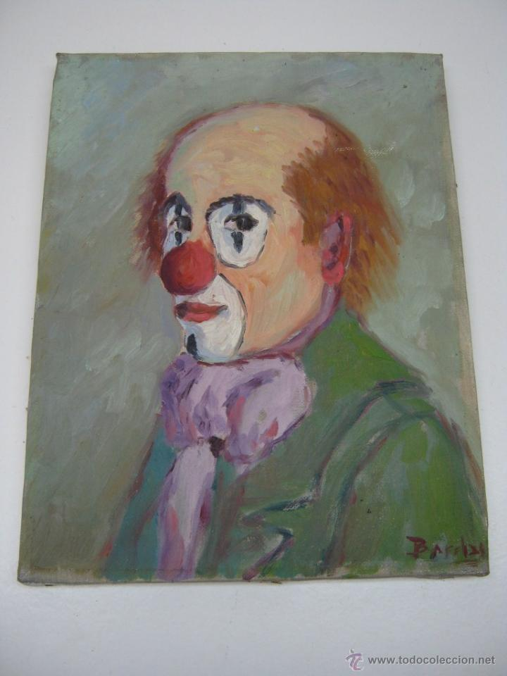 INTERESANTE PINTURA ANTIGUA AL OLEO - RETRATO DE PAYASO - FIRMA ILEGIBLE - TELA GRANOLLERS (Arte - Pintura - Pintura al Óleo Contemporánea )