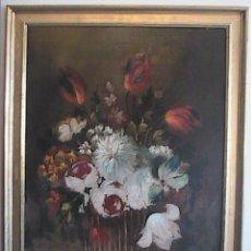 Arte: OLEO SOBRE TELA. CENTRO FLORAL. RAMÓN HERNÁNDEZ. 1940.. Lote 44866011