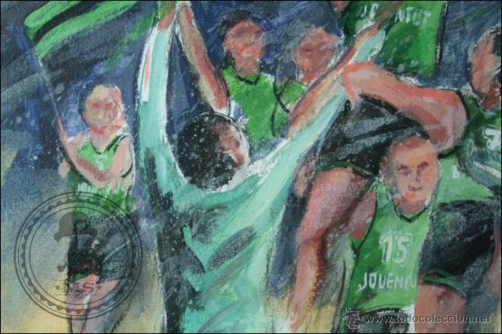 Arte: Pintura al Óleo / Acrílico de J. Andreu Fresquet - Jugadores de Baloncesto. Joventut - 76 x 61 Cm - Foto 3 - 45063661