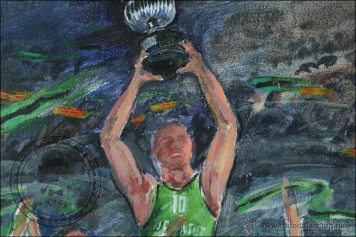 Arte: Pintura al Óleo / Acrílico de J. Andreu Fresquet - Jugadores de Baloncesto. Joventut - 76 x 61 Cm - Foto 4 - 45063661