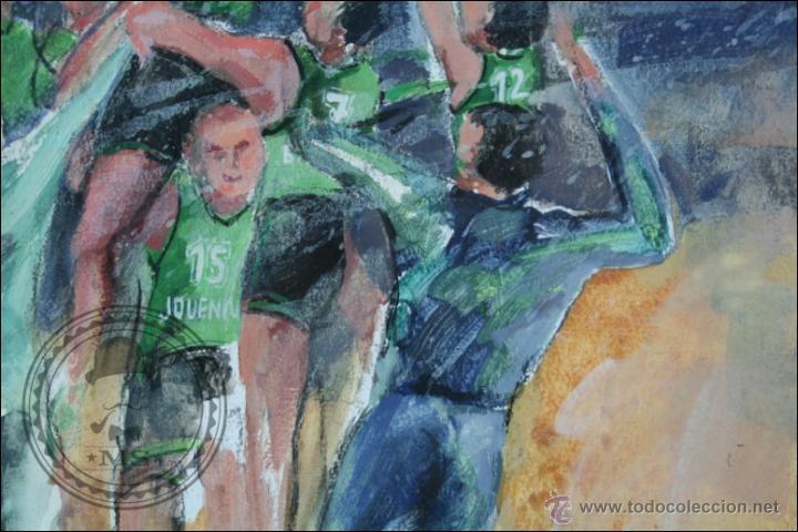 Arte: Pintura al Óleo / Acrílico de J. Andreu Fresquet - Jugadores de Baloncesto. Joventut - 76 x 61 Cm - Foto 5 - 45063661