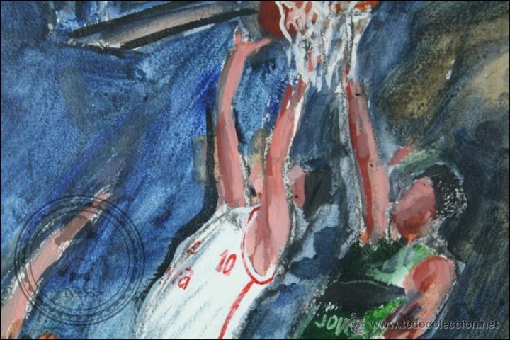 Arte: Pintura al Óleo / Acrílico de J. Andreu Fresquet - Jugadores de Baloncesto. Joventut - 76 x 61 Cm - Foto 2 - 45063722