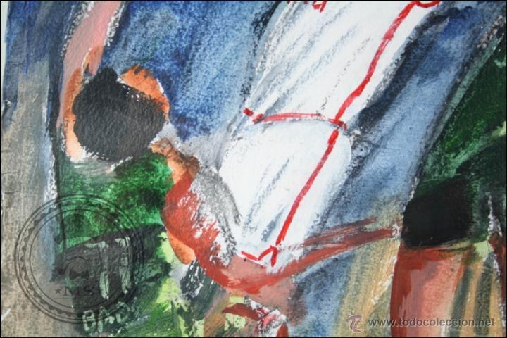 Arte: Pintura al Óleo / Acrílico de J. Andreu Fresquet - Jugadores de Baloncesto. Joventut - 76 x 61 Cm - Foto 4 - 45063722