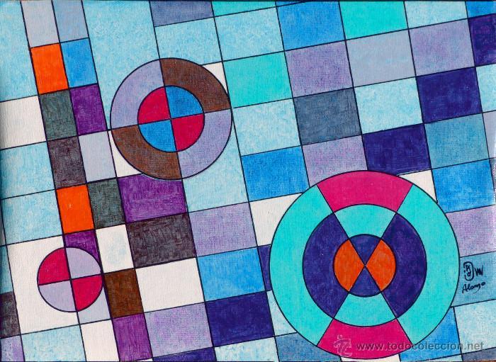 Acrilico Composicion Geometrica 33 X 24 Cms M Comprar Pintura