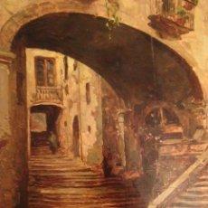 Arte: PINTURA OLEO SOBRE TABLA, CALLE PUEBLO, FIRMADO C. L. SOTO, 1934 FIGUERAS, GIRONA. 27X28 CM.. Lote 45126218