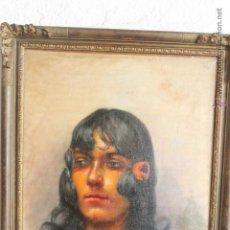 Arte: OLEO SOBRE LIENZO, FIRMADO F. MIRALLES DE BEND, GITANA SIGLO XIX. Lote 45170164
