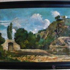 Arte: SANDOR BRODSZKY HUNGRIA 1819-1901 IMPRESIONISMO PAISAJE CON RIO RUINAS ANIMALES O/L FIRMADO 88X64 CM. Lote 45249139