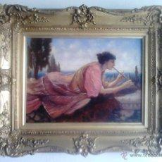 Kunst - MUCHACHA TOCANDO LA FLAUTA - DOUGLAS JOSEPH - OLEO SOBRE LIENZO - MARCO DORADO - 45265459