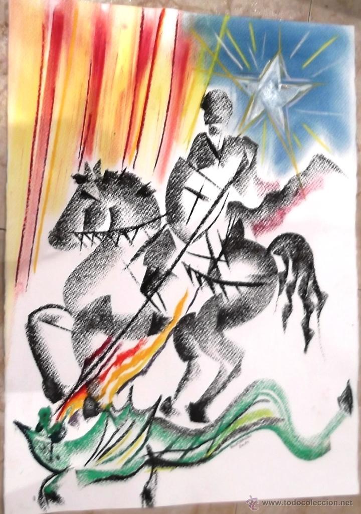 JOSEP MARIA HONTANGAS - DIBUJO A CERAS - SANT JORDI - 70 X 50 (Arte - Pintura Directa del Autor)