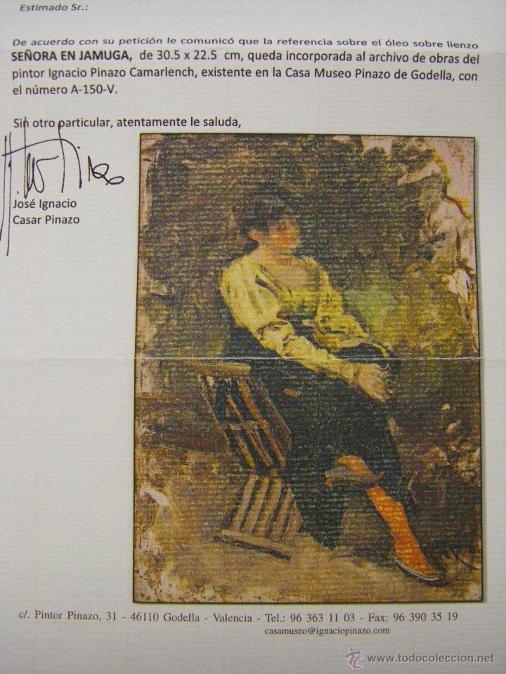 Arte: Oleo Señora en jamuga, pintor Ignacio Pinazo Camarlench, Valencia s. XIX Certificado de Autenticidad - Foto 5 - 45361089