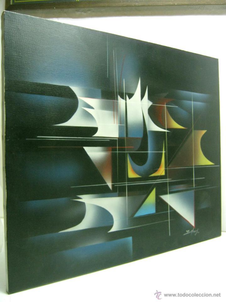 Arte: 62 cm - Interesante pintura abstracta firmada - lienzo - Foto 2 - 45382641