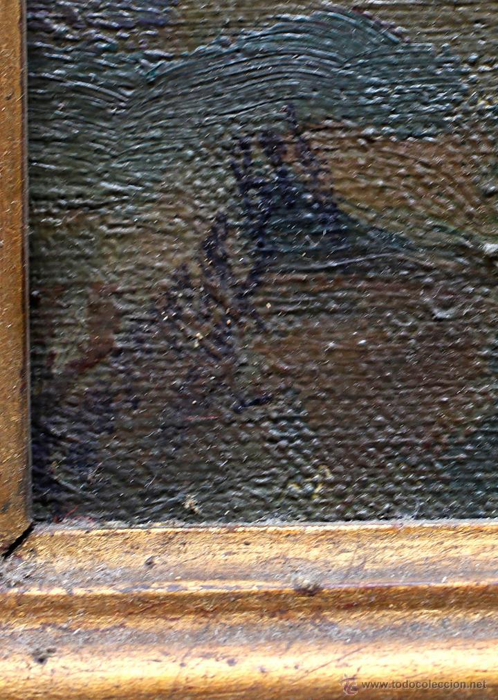 Arte: pueblo por identificar, firma ilegible. Óleo sobre tela 46x56cm. Marco: 67x58cm. - Foto 3 - 45417600