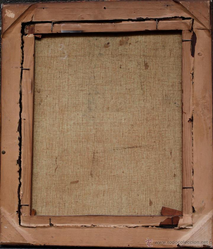 Arte: pueblo por identificar, firma ilegible. Óleo sobre tela 46x56cm. Marco: 67x58cm. - Foto 4 - 45417600