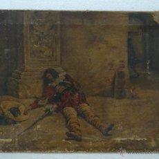 Arte: ÓLEO SOBRE LIENZO MOSQUETERO HERIDO J.PEREA 1907 - ABC 084. Lote 43145860
