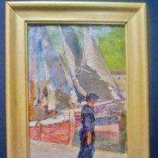 Arte: MARINA. ÒLEO SOBRE LIENZO. FIRMADO P. COLLADO (VALLADOLID 1874-1951). AL DORSO, SAN SEBASTIÁN 1942. . Lote 45564212