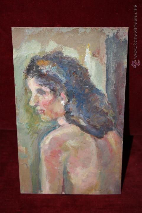 ANONIMO. OLEO SOBRE CARTON. DAMA DE PERFIL (Arte - Pintura - Pintura al Óleo Contemporánea )