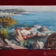 Arte: ANONIMO. OLEO SOBRE TABLA DE LOS AÑOS 40. VISTA COSTERA. Lote 45636355
