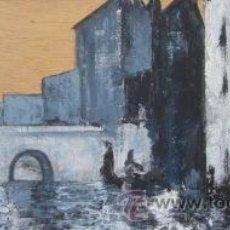 Arte: CANAL VENECIANO II. ACRILICO SOBRE TABLA DE MADERA. DIMENSIONES: 51 CM X 21 CM. . Lote 45741289
