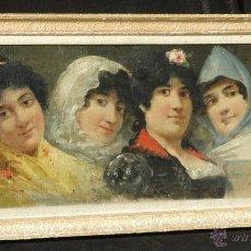 Arte: MAGNIFICO OLEO LIENZO, GRUPO SEÑORITAS ESPAÑOLAS, R. JULIÁ ESTRAIGUES 1872-1892. MARCO 33X68 CM.. Lote 45793050