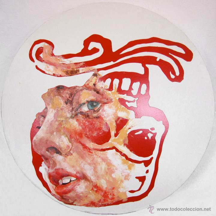 Arte: Pintura figurativa contemporánea formato circular retrato hombre y calavera - Foto 2 - 45810886