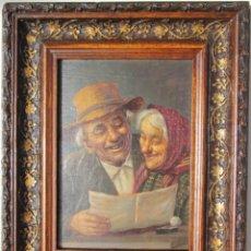 Arte: CUADRO PINTURA OLEO SOBRE TABLA PAREJA DE ANCIANOS FIRMADA K. SZEWCZENKO PINTOR POLACO 1915-1991. Lote 140656768