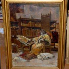 Arte: ANTONIO AGUILAR CASADO (BARCELONA, 1871 - 1931) OLEO SOBRE TELA. EL PRINCIPE DE VIANA. Lote 45823819