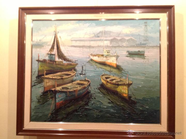 CUADRO MARINA DEL PINTOR OBACH CARNÉ ÓLEO ENMARCADO (Arte - Pintura - Pintura al Óleo Contemporánea )