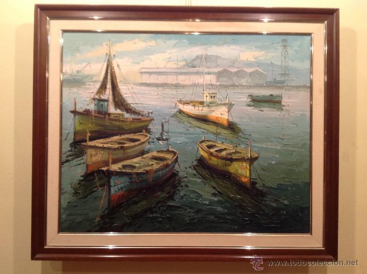 Arte: Cuadro Marina Del Pintor Obach Carné Óleo Enmarcado - Foto 2 - 45850005