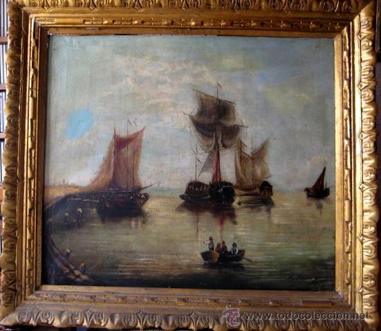MARINA. ESCUELA HOLANDESA. OLEO/LIENZO FIRMADO. (Arte - Pintura - Pintura al Óleo Moderna siglo XIX)