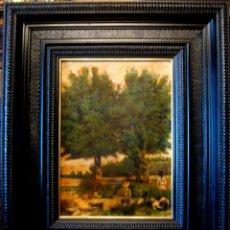 Arte: PAISAJE CON FIGURAS. OLEO/LIENZO. ESCUELA FRANCESA FIRMADO J. IMBERT EN 1916. Lote 45941768