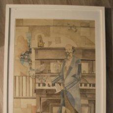 Arte: PINTURA OLEO DE YOHEI ONO PEPE: TINTA/PAPEL - ARQUITECTO - FIRMADO EN 2005- CON MARCO. Lote 35370900