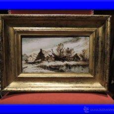 Arte: CUADRO AL ESMALTE SOBRE BARRO FIRMADO FROMENTIN 1868. Lote 36774899