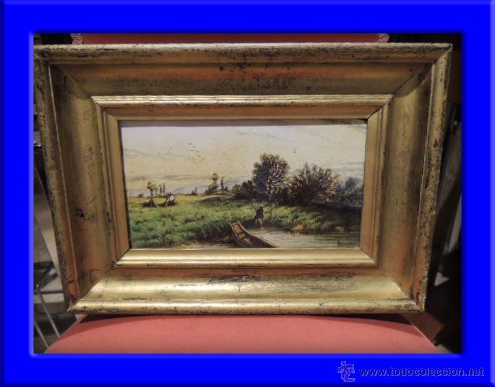 CUADRO AL ESMALTE SOBRE BARRO FIRMADO FROMENTIN 1868 (Arte - Pintura - Pintura al Óleo Moderna siglo XIX)