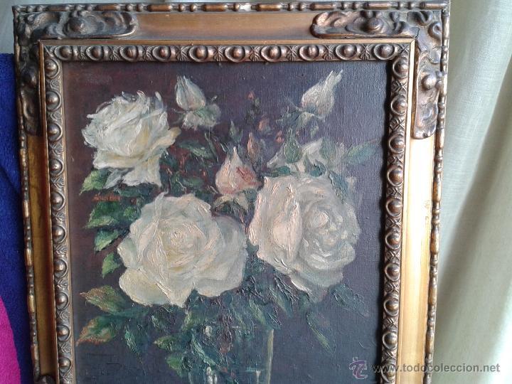 Arte: Pintura al óleo - Jarrón con rosas blancas - gran efecto - Firmado por Oniols Uñó - Foto 2 - 46046261