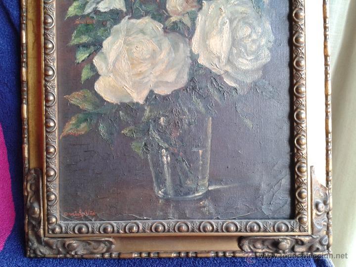Arte: Pintura al óleo - Jarrón con rosas blancas - gran efecto - Firmado por Oniols Uñó - Foto 3 - 46046261