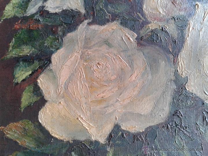 Arte: Pintura al óleo - Jarrón con rosas blancas - gran efecto - Firmado por Oniols Uñó - Foto 5 - 46046261