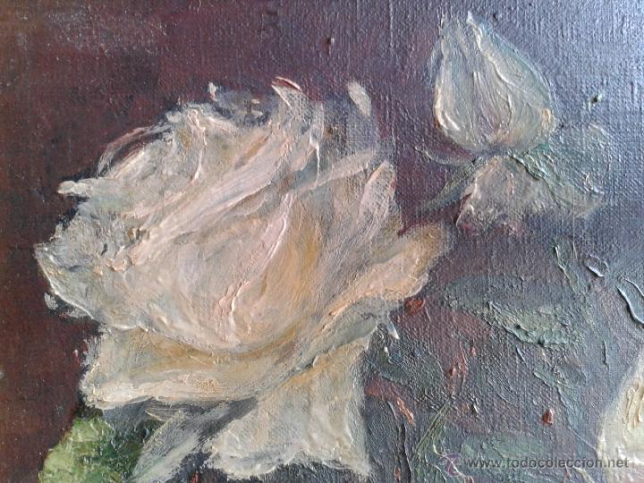 Arte: Pintura al óleo - Jarrón con rosas blancas - gran efecto - Firmado por Oniols Uñó - Foto 6 - 46046261