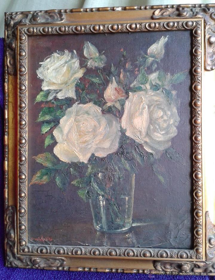 Arte: Pintura al óleo - Jarrón con rosas blancas - gran efecto - Firmado por Oniols Uñó - Foto 10 - 46046261