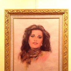 Arte: CUADRO RETRATO DE JUANA ANDERSON ORIGINAL FIRMADO CON MARCO. Lote 46077534