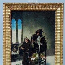 Arte: OLEO SOBRE LIENZO ALMUERZO EN EL MONASTERIO ANTONIO MARÍA FABRES Y COSTA 1854 - 1936 MARCO DORADO. Lote 46191176