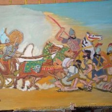 Arte: BATALLA ENTRE ASIRIOS Y ELAMITAS. ÓLEO SOBRE MADERA 80X60 CM. DE CRESPO. Lote 16171059