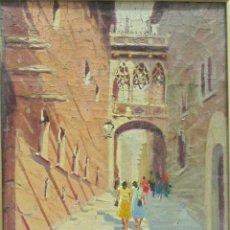 Arte: VILA PUIG, REPRESENTANDO EL BARRIO ANTIGUO DE BARCELONA. Lote 46165560